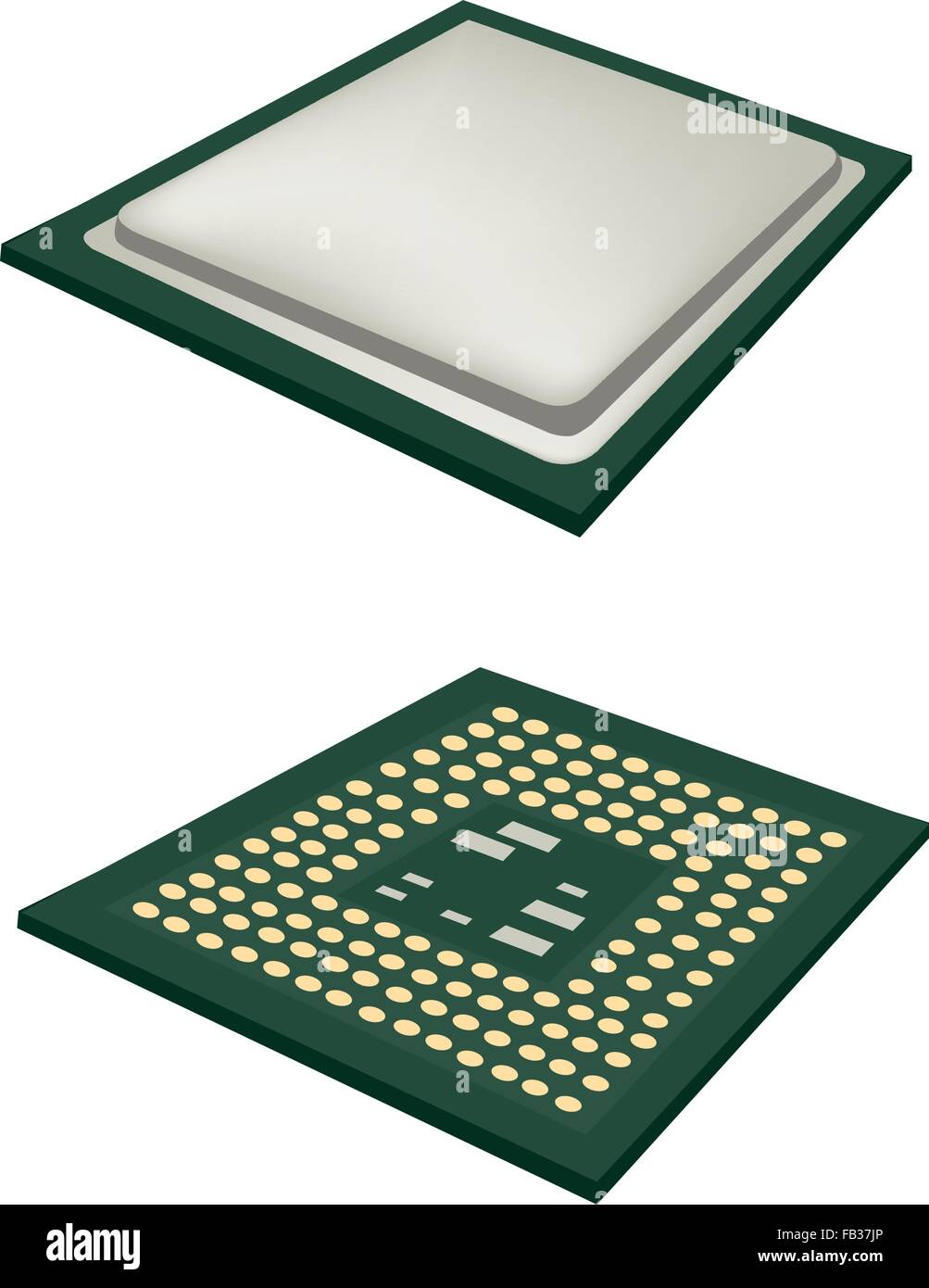 Computer and  Technology, Illustration of Computer CPU Chip or CPU Processor Isolated on White Background. Stock Vector