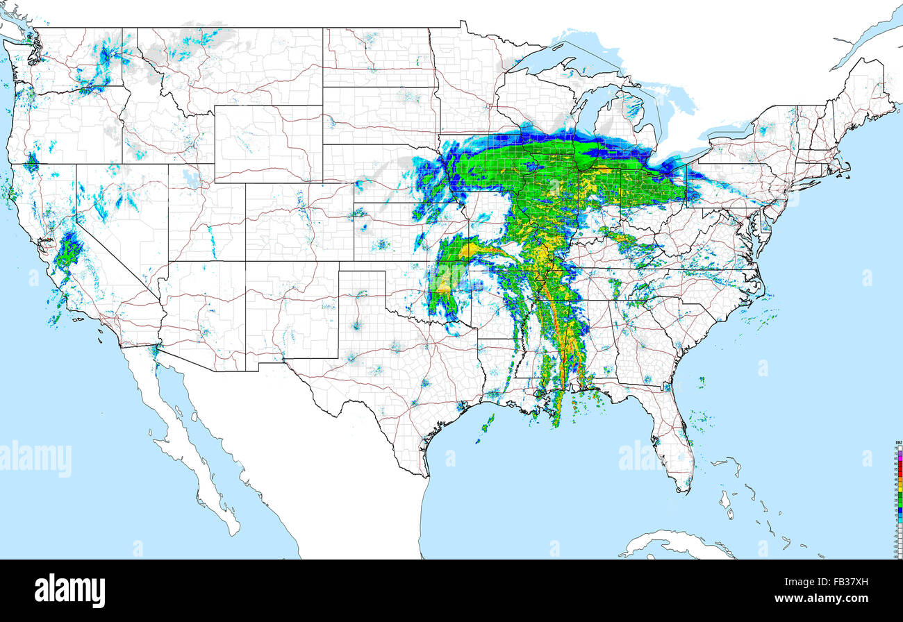 Weather Map Of Usa Showing Large Winter Storm Moving North Stock