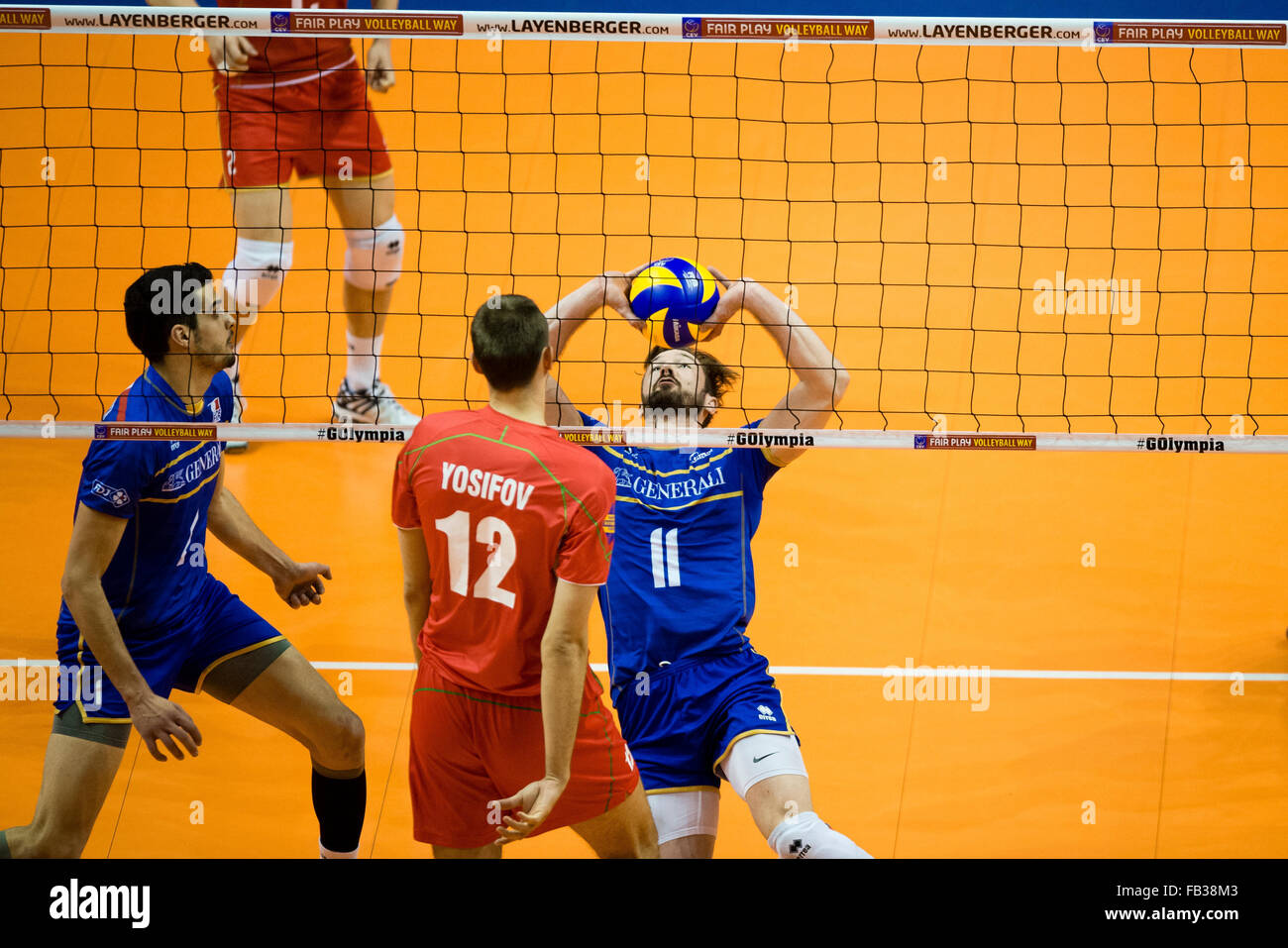 France's Julien Lyneel in action during the game of the Olympic Qualification Men's Group B between France - Stock Image