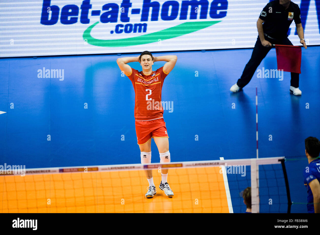 France's Jenia Grebennikow after a missed point during the game of the Olympic Qualification Men's Group - Stock Image
