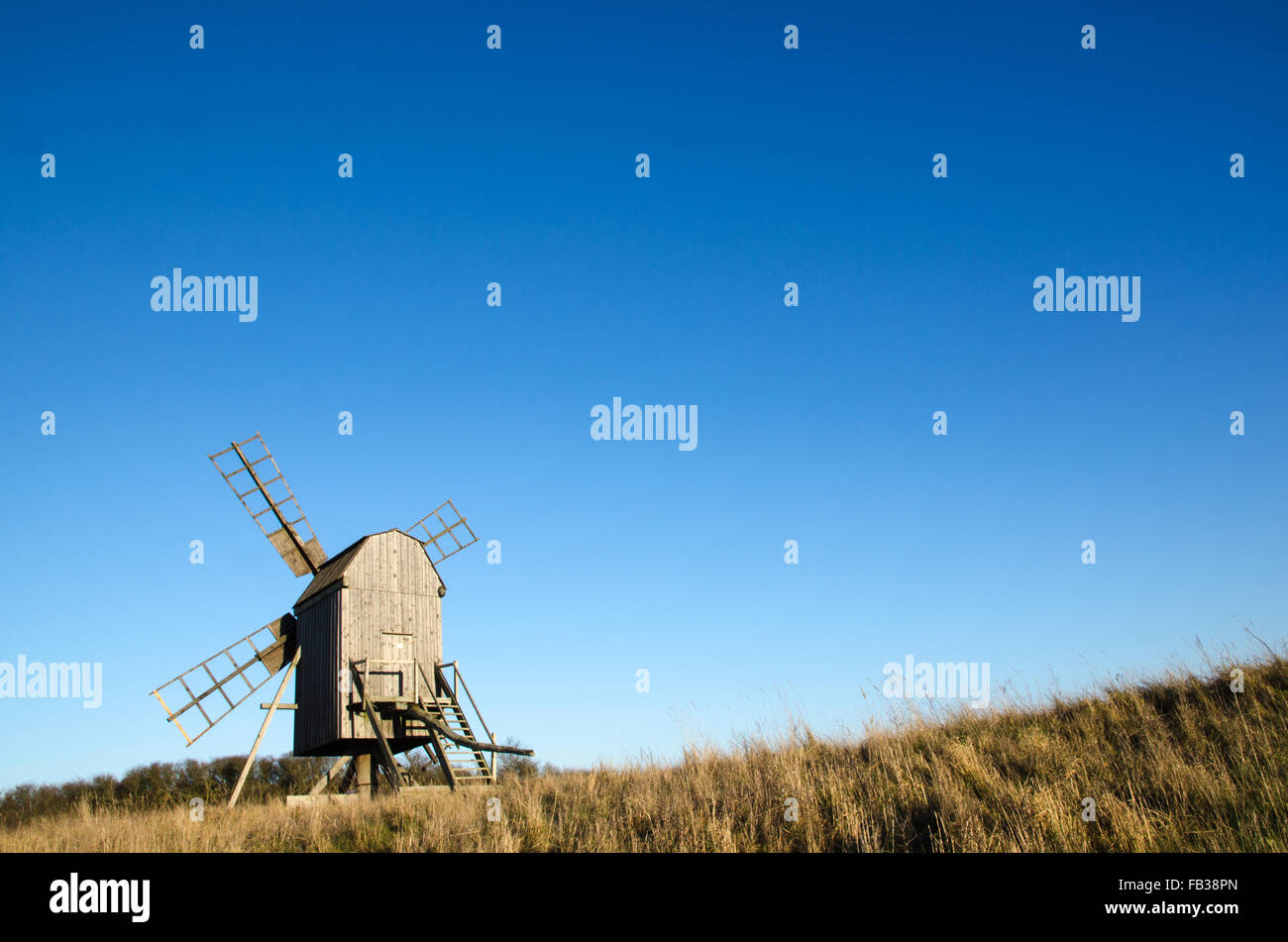 Sunlit old traditional wooden windmill on at the swedish island Oland, the island of sun and wind - Stock Image