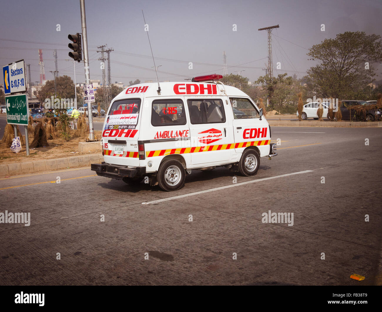 edhi ambulance pakistan - Stock Image