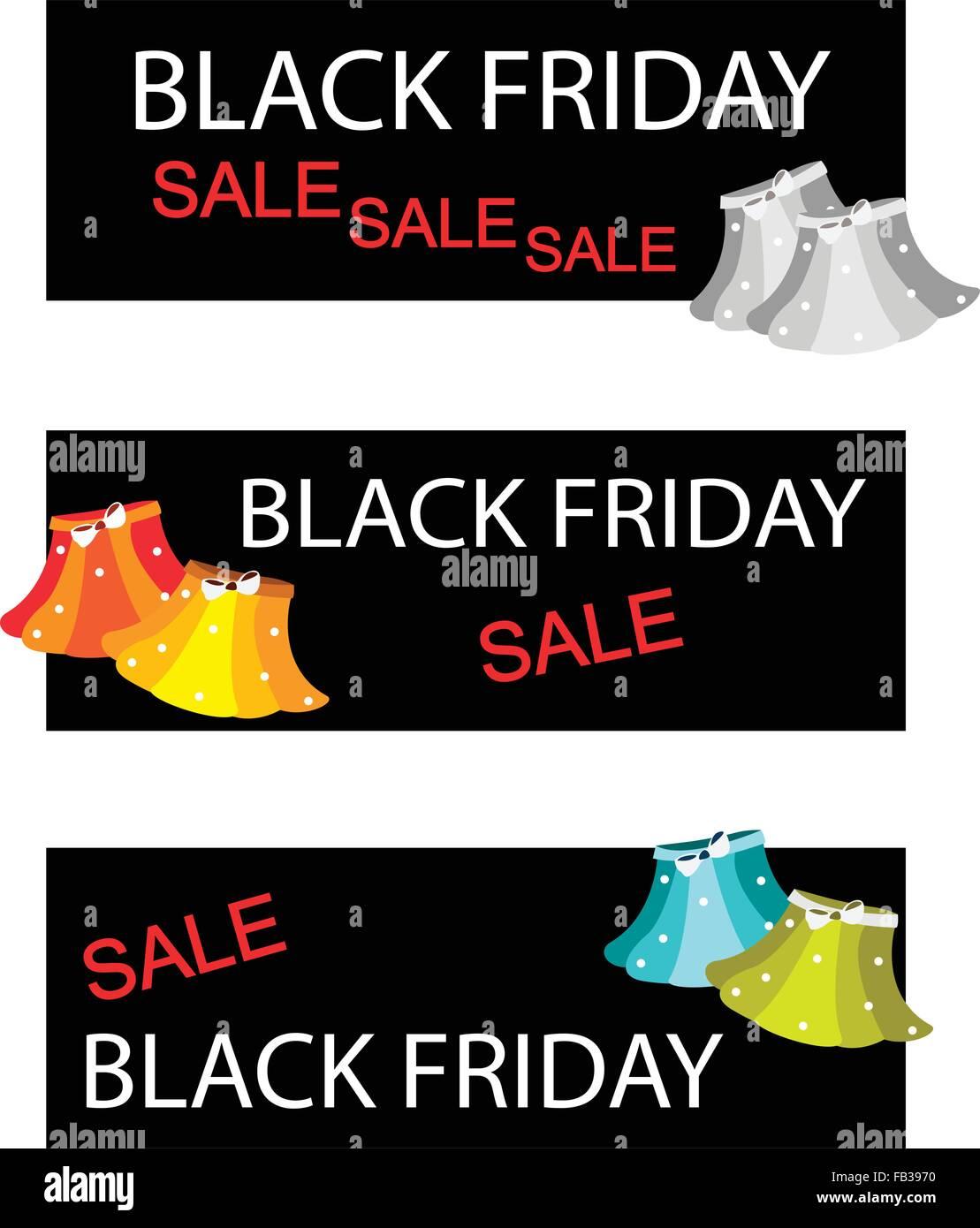Illustration of Skirts on Black Friday Shopping Labels for Start Christmas Shopping Season. - Stock Vector