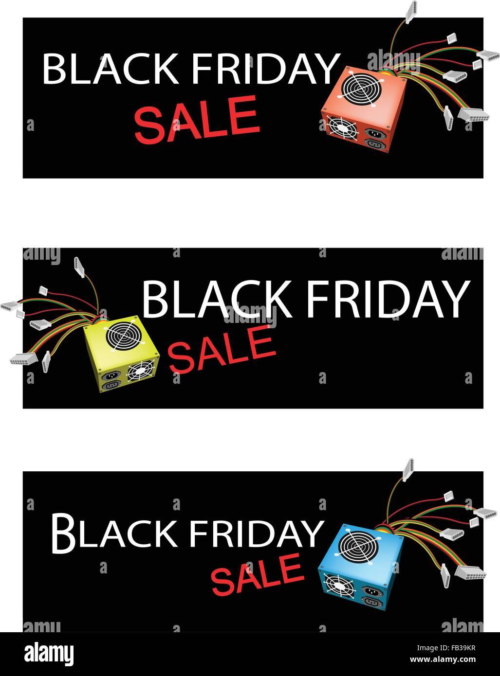 Illustration of Computer Power Supply Box on Black Friday Shopping ...