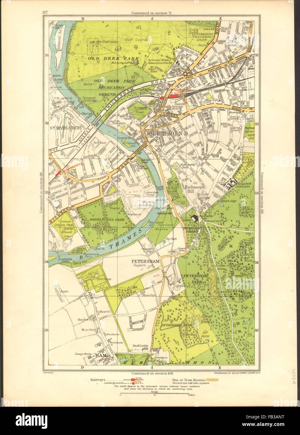 Richmond London Map.London Ham Petersham Richmond Richmond Hill St Margaret S 1937