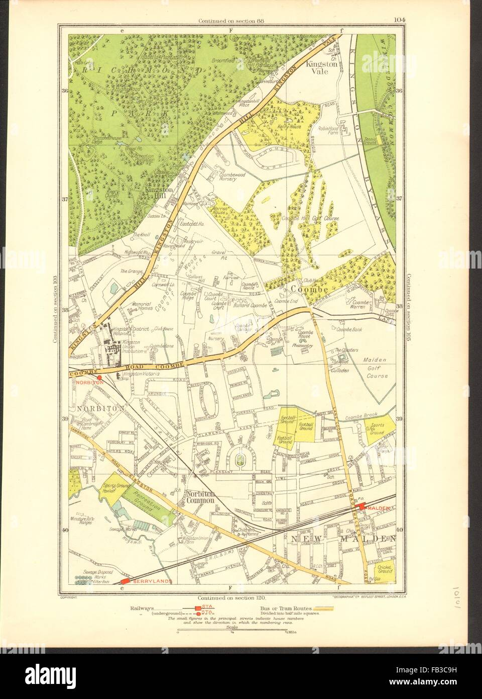Norbiton Art Coombe Kingston Hill Kingston Vale New Malden Malden 1933 Old Map Sophisticated Technologies Antiques