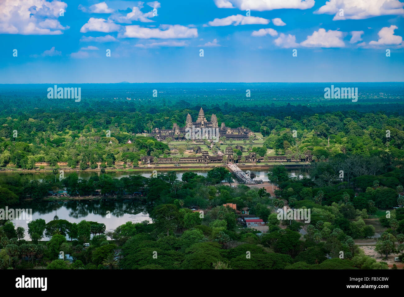 Beautiful aerial view of Angkor Wat Temple, Cambodia, Southeast Asia - Stock Image