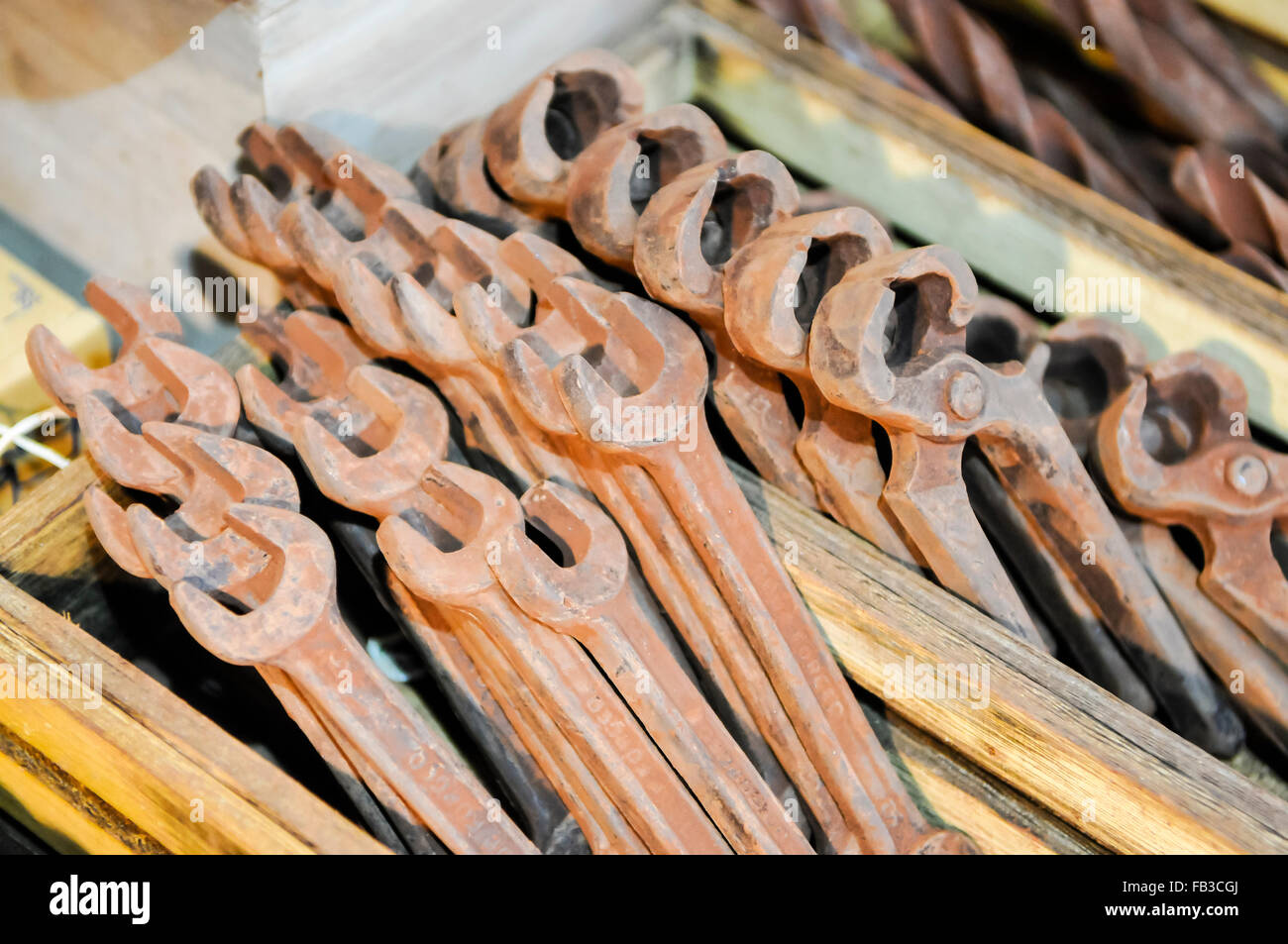 Spanners, pincers and drill bits made entirely from chocolate. - Stock Image
