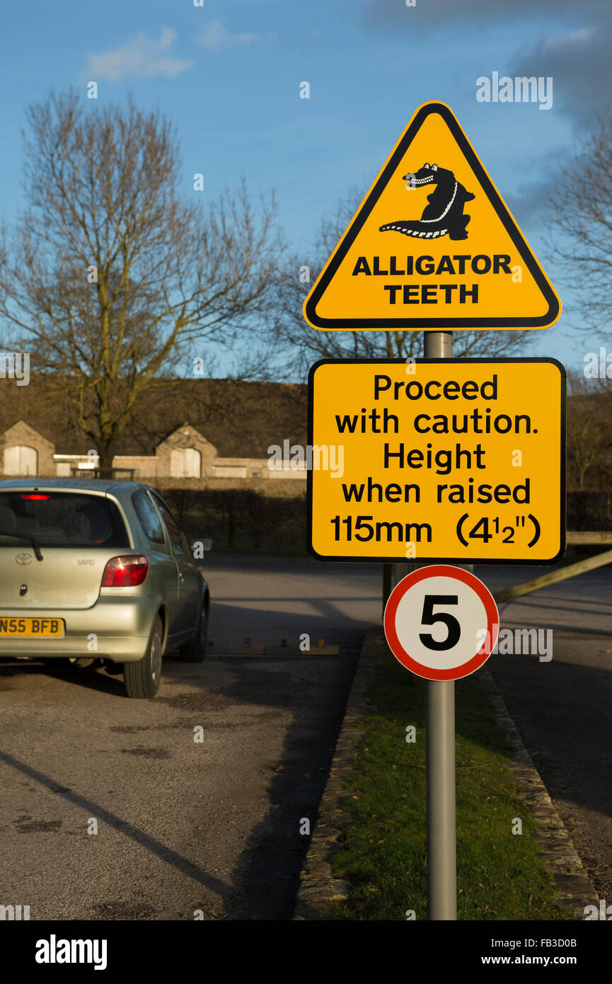Car driving over Alligator Teeth traffic direction enforcer with yellow warning sign - the car park exit, Bolton - Stock Image