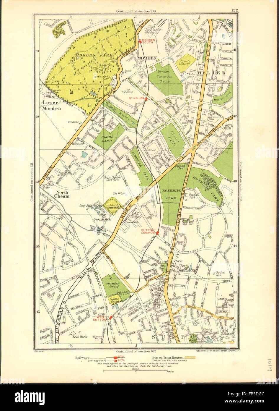 SUTTON: Benhilton, North/Lower Morden Park, Cheam, St Helier; Surrey, 1937 map - Stock Image