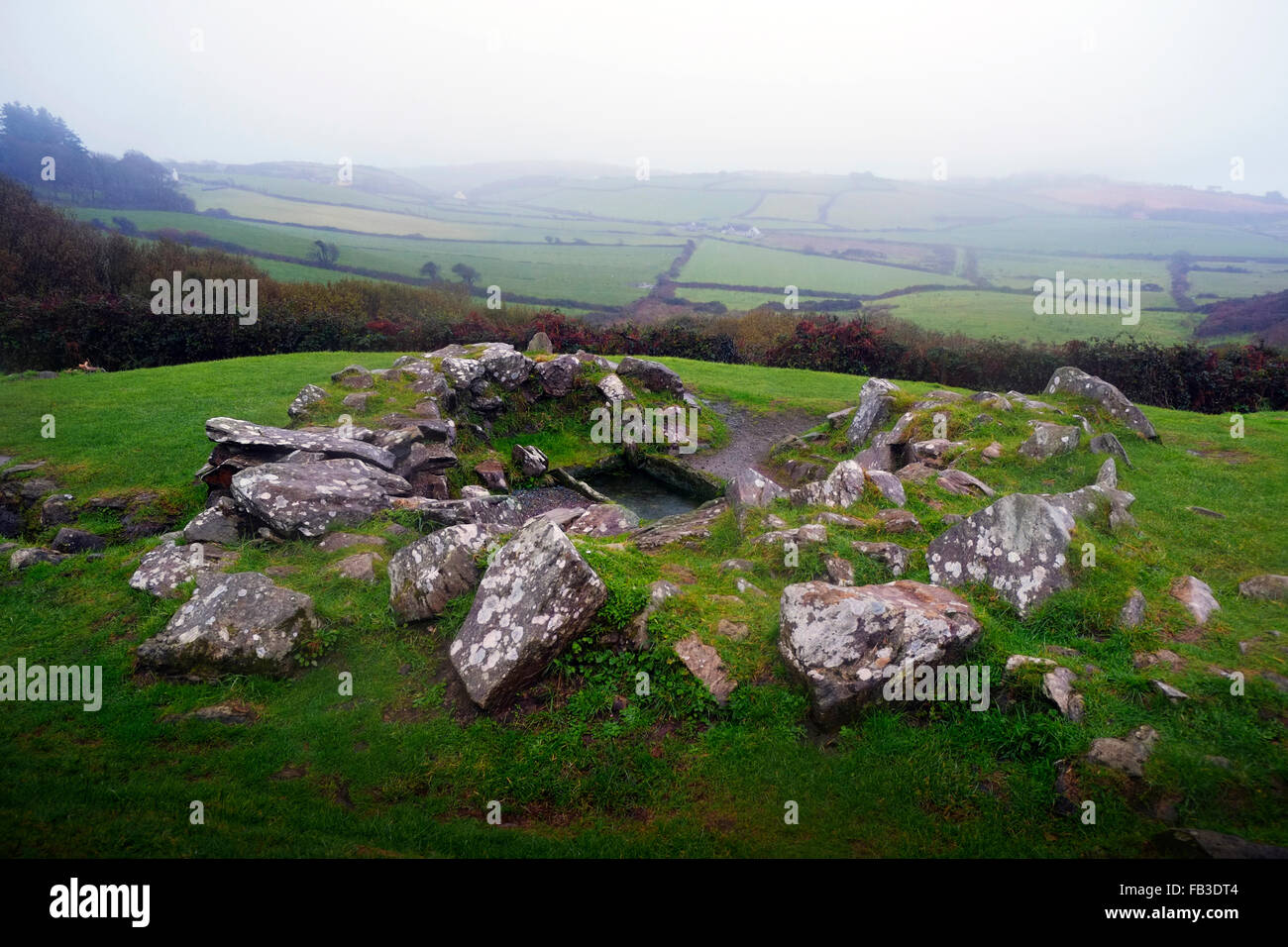 Drombeg Stone Circle historic site showing the ancient cooking pit. Glandore West Cork Ireland - Stock Image