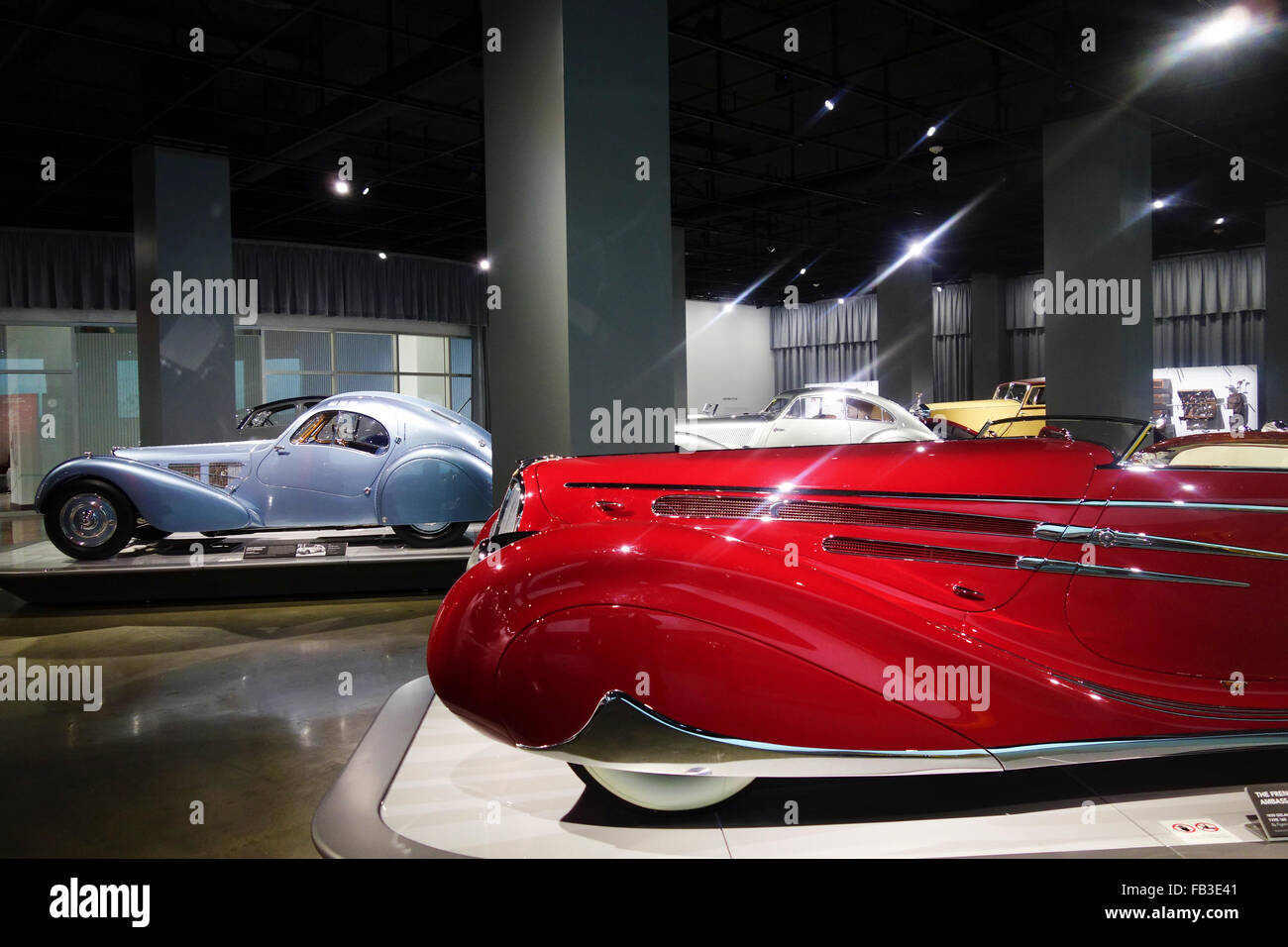 vintage cars on display in Petersens Automotive Museum; Los Angeles; Southern California; USA - Stock Image