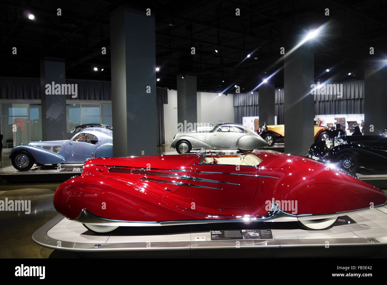 gallery in Petersens Automotive Museum; Los Angeles; Southern California; USA - Stock Image
