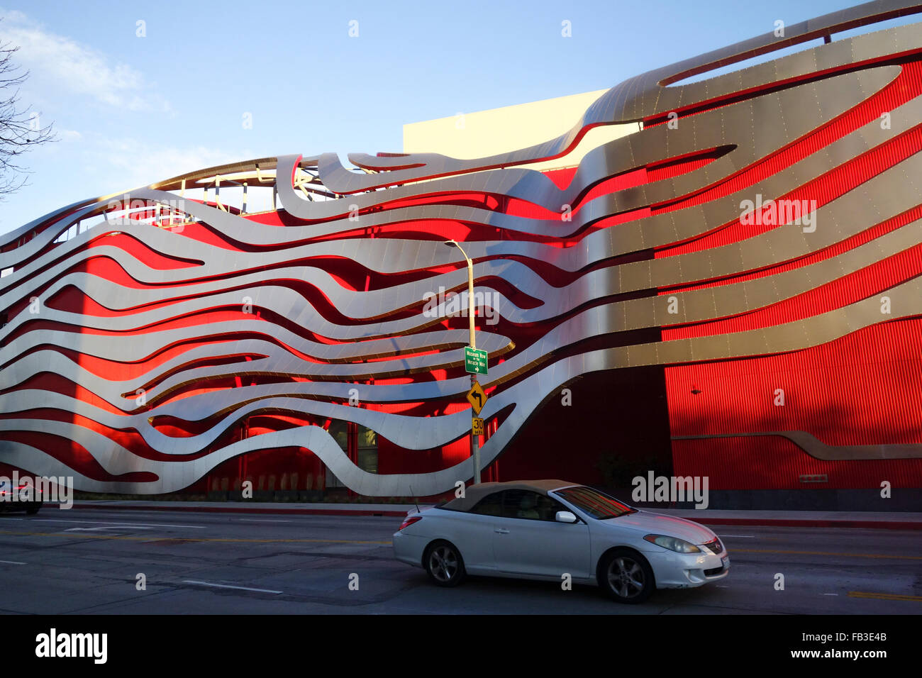 exterior of Petersens automotive museum in Los Angeles California USA - Stock Image