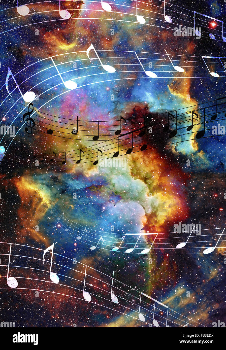 music note and Space and stars with abstrtact color background Stock