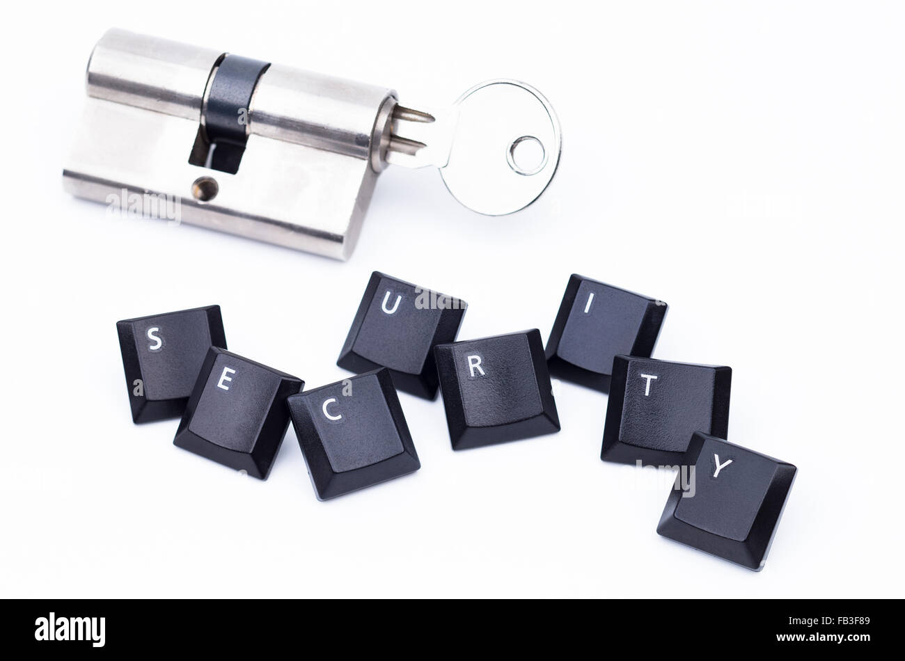 Image shows shows keys with the word security and a key lock - Stock Image