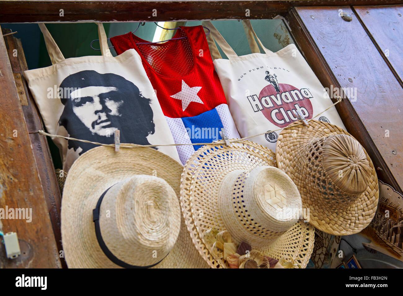 Cuba Souvenirs, Hats T-shirts Che Guevara - Stock Image