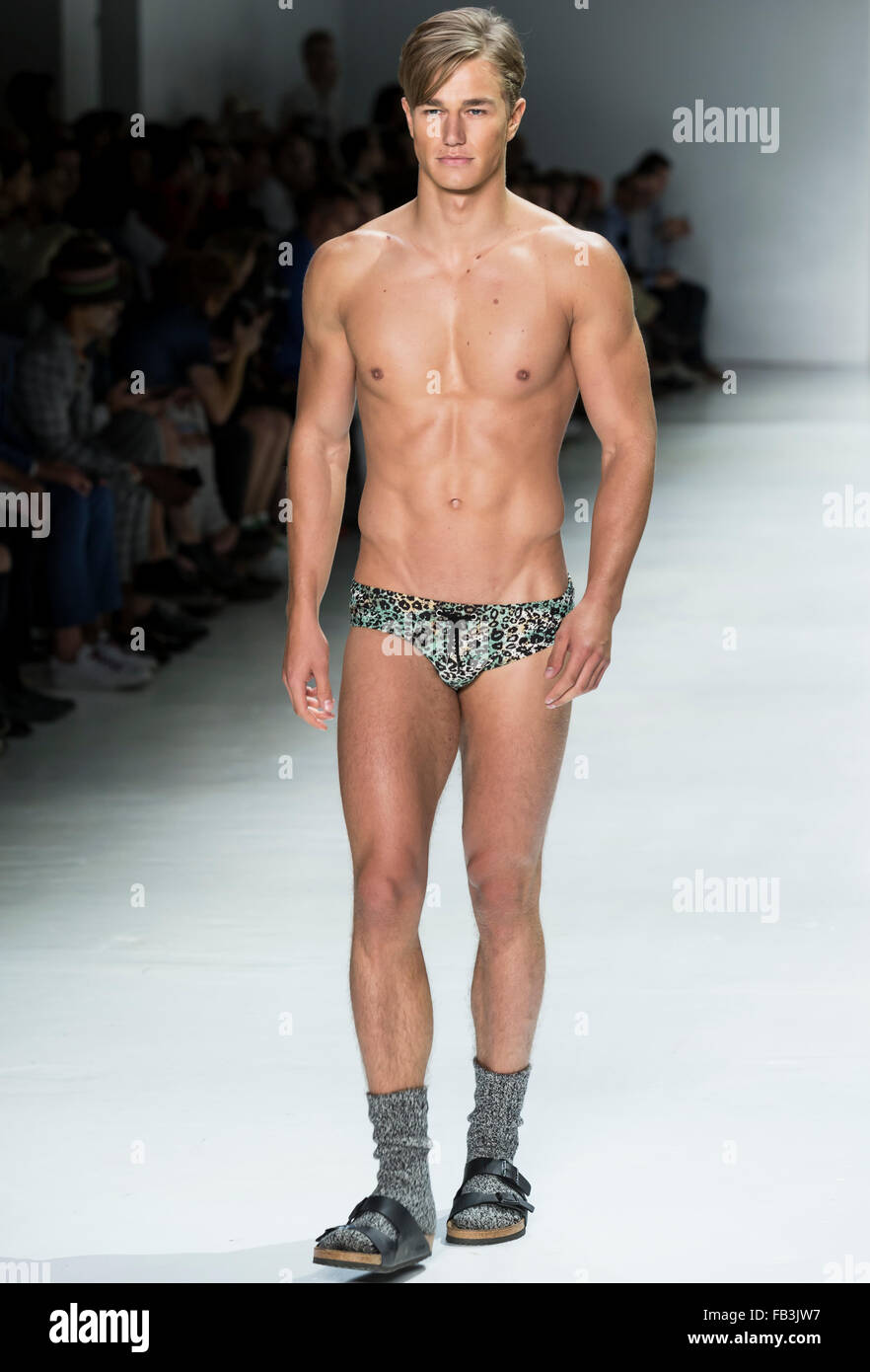 NEW YORK, NY - JULY 16, 2015: Laurin Krausz walks the runway during the Parke & Ronen show at NYFW Men's S/S - Stock Image