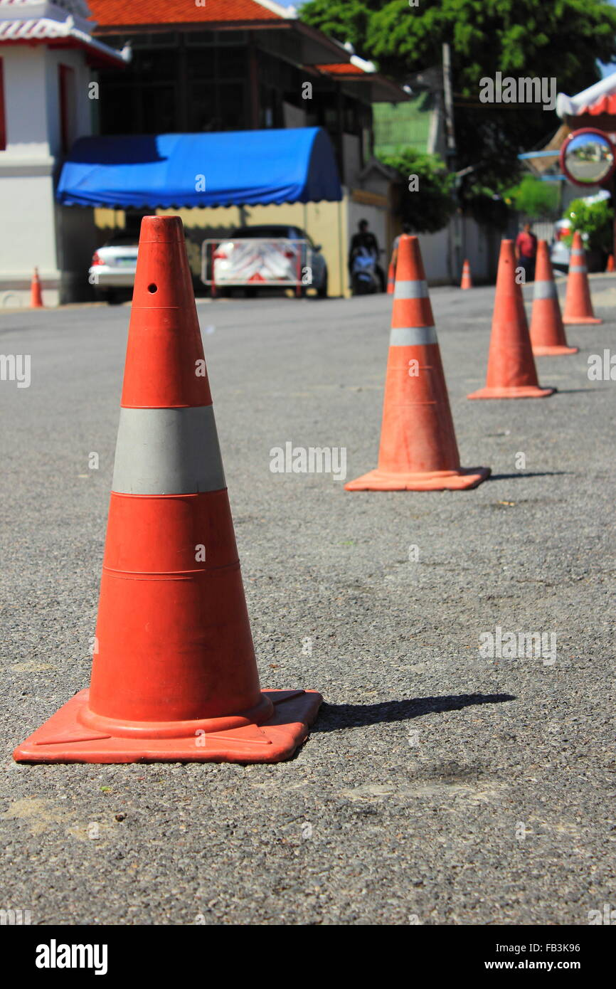 traffic cones background for use in carpark - Stock Image