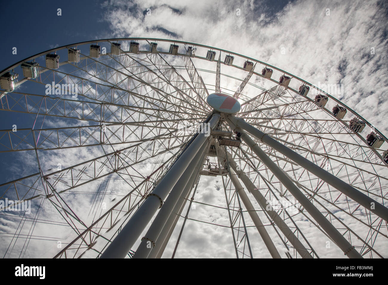 The Wheel of Brisbane is located at the South Bank in the heart of Brisbane's cultural, lifestyle and entertainment - Stock Image