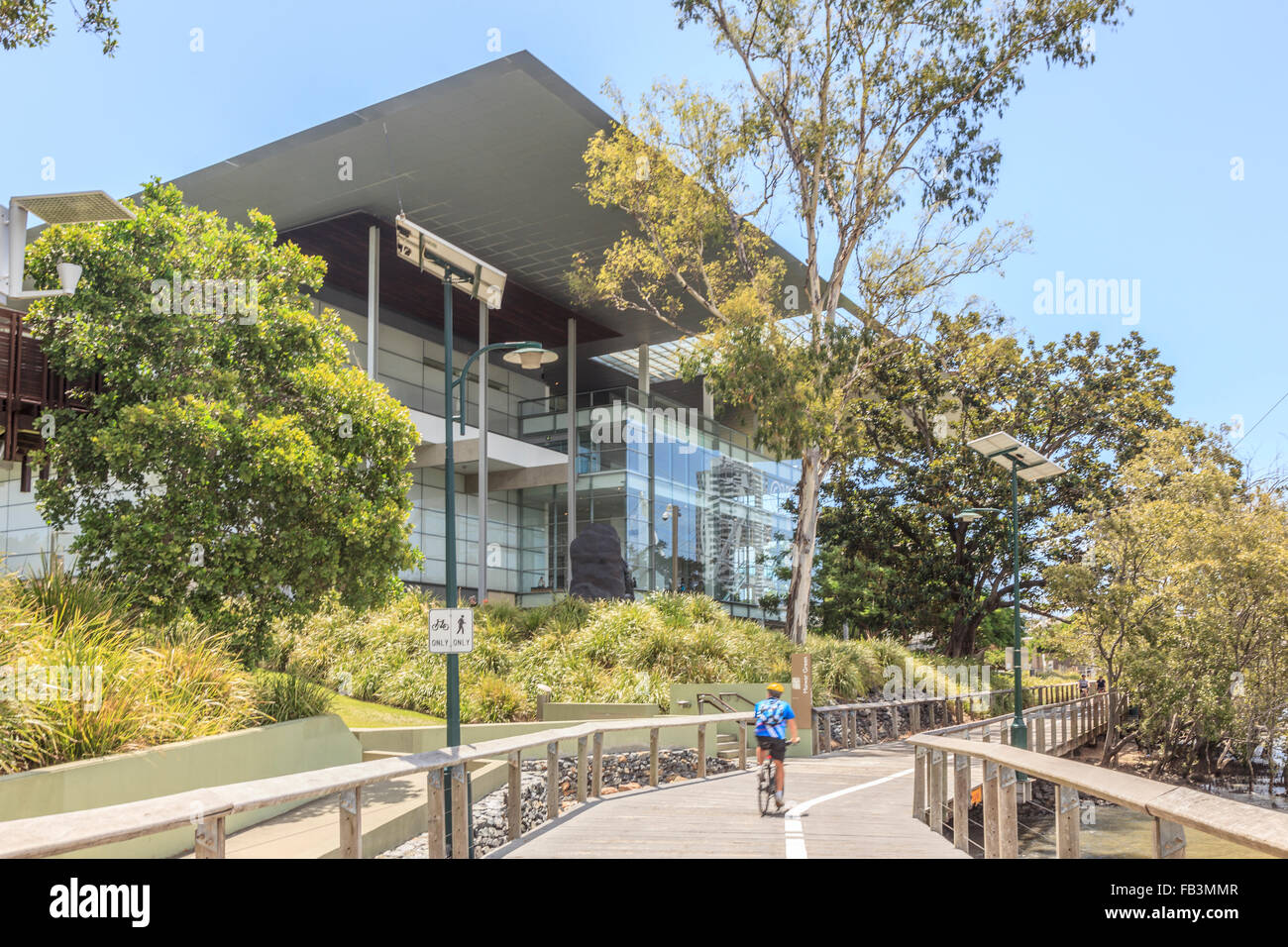 Cyclist on Brisbane River bank besides the  Gallery of Modern Art, South Bank Brisbane Queensland Australia Oceania - Stock Image