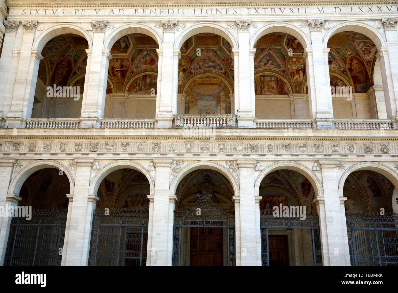 The portico of Saint John Lateran Basilica in Rome. - Stock Image