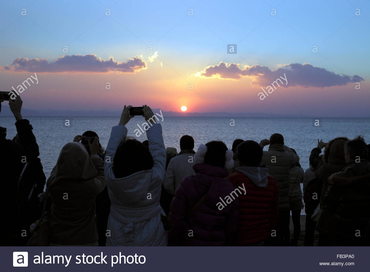 ritual of going to see the first sunrise of the year Japan Miurakaigan - Stock Image