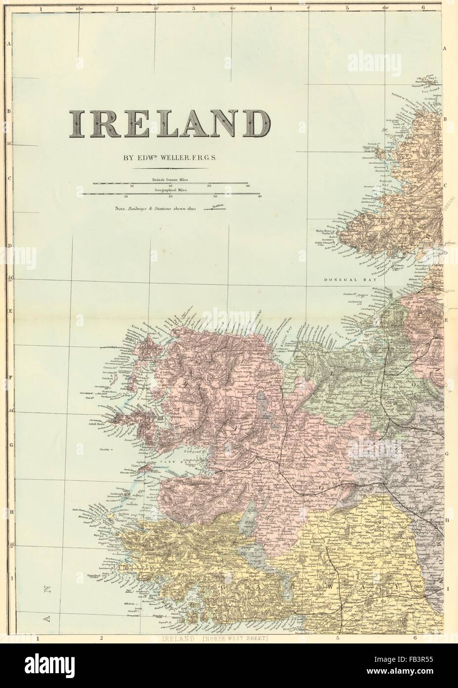 Map Of Ireland Mayo.Ireland North West Connacht Mayo Galway Sligo Antique Map By Gw