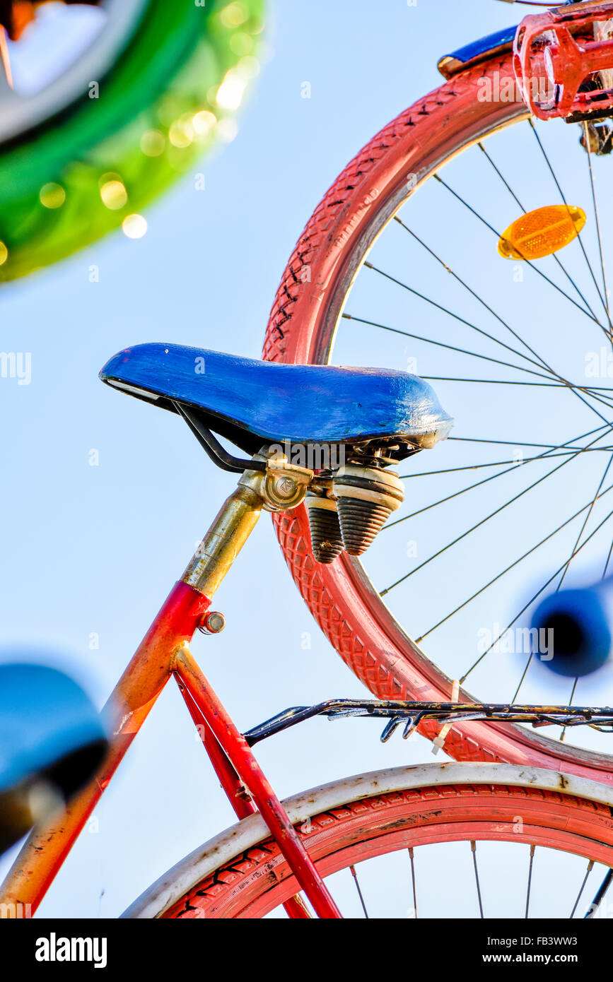 Bicycle art installation, Austria, Burgenland Stock Photo