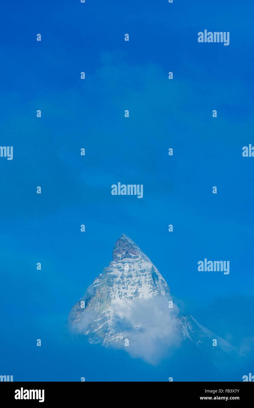 Mountain Matterhorn, Monte Cervino, Mont Cervin, 4.478 m, Rotenboden, Pennine Alps, Zermatt, Valais, Switzerland Stock Photo