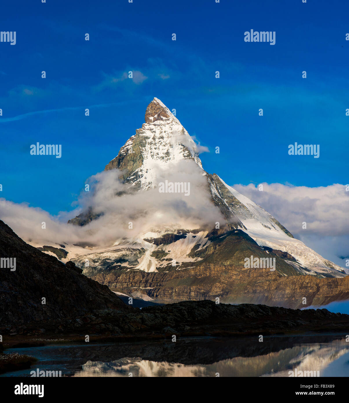 Mountain Matterhorn, Monte Cervino, Mont Cervin, 4.478 m, Rotenboden, Pennine Alps, Zermatt, Valais, Switzerland Stock Photo