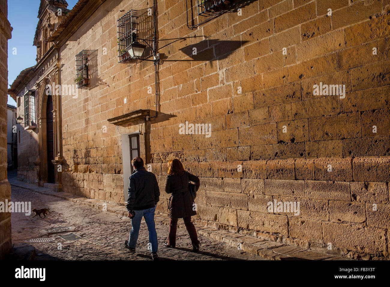 Calle de Alvaro de Torres.Wall of Santa Clara convent. Úbeda. Jaén province. Spain Stock Photo