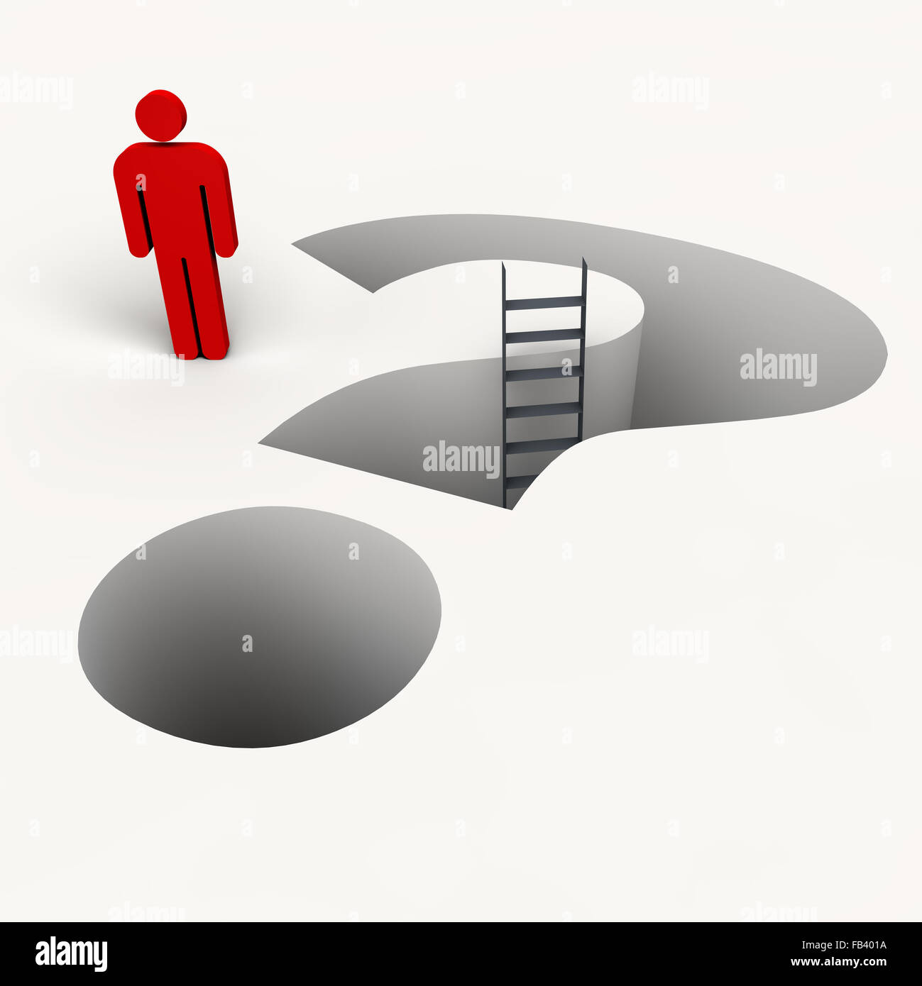 The Human Question mark from the stairs - Stock Image