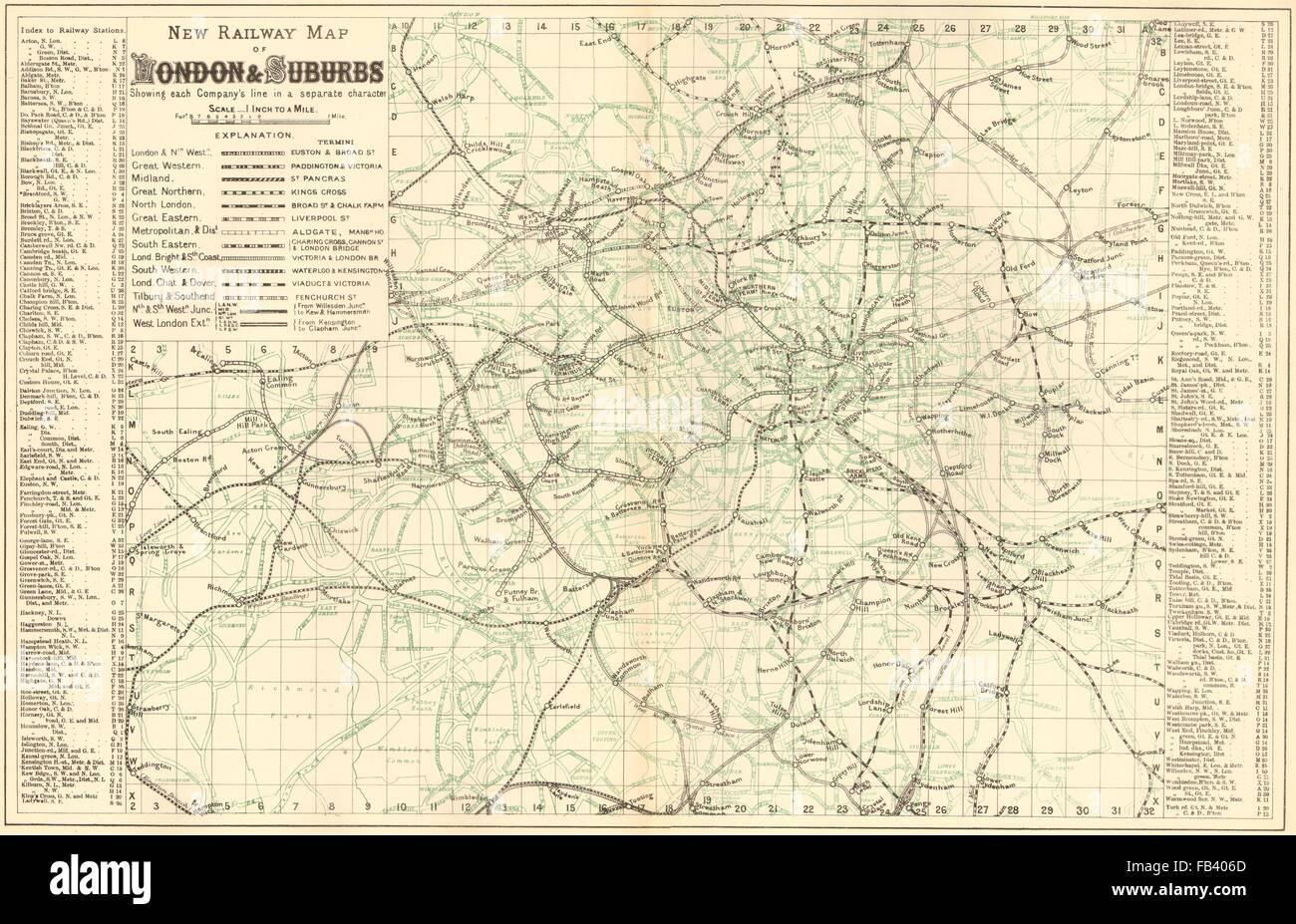 LONDON Rail u0026 Underground Tube map Antique