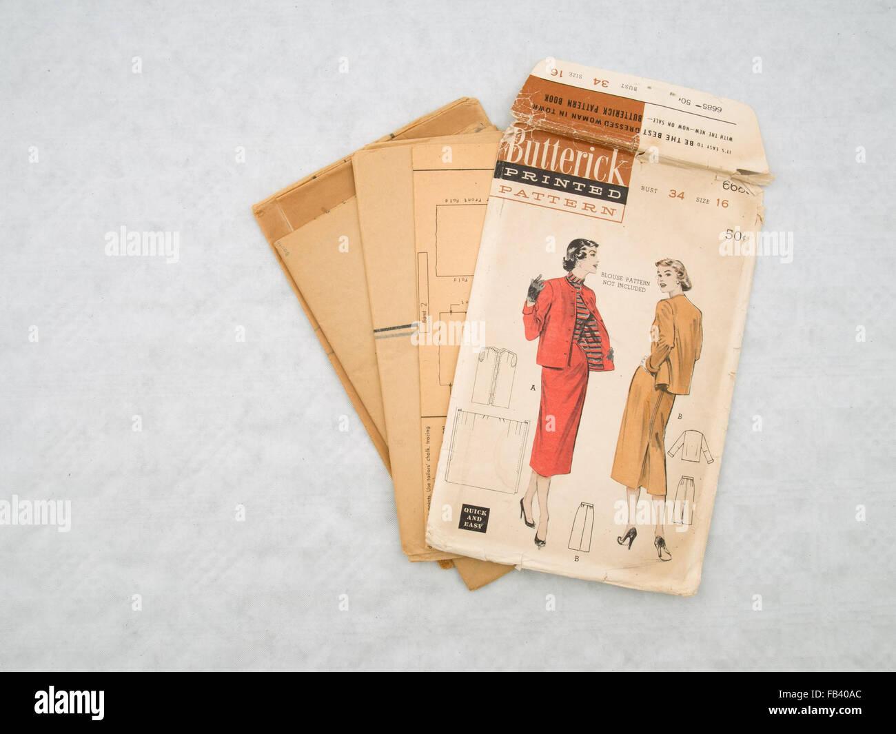 Vintage dressmaking pattern, pencil skirts and jacket. Butterick. - Stock Image