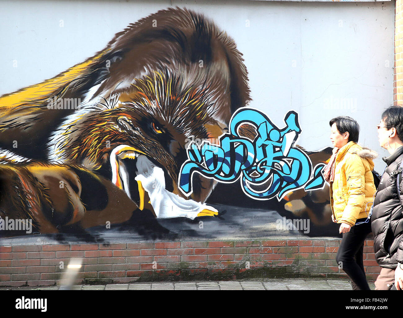 Local residents walk by a wall painted with graffiti works in shanghai east china jan 9 2015 chen fei xinhua alamy live news