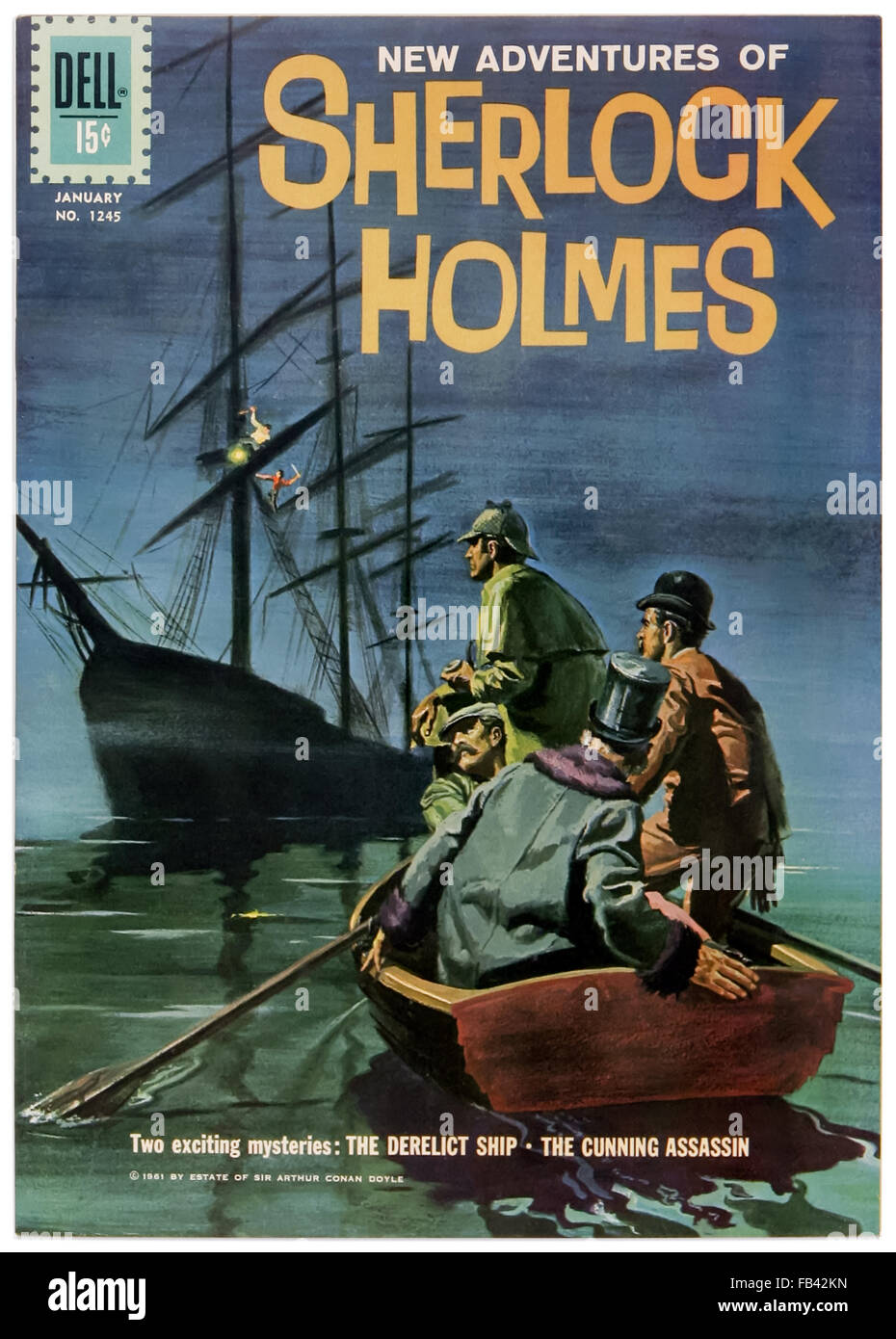 'The New Adventures of Sherlock Holmes' Dell Comics Issue 1169 January 1961  comic book adaptation illustrated by Frank Giacoia (1924-1988) featuring  'The ...