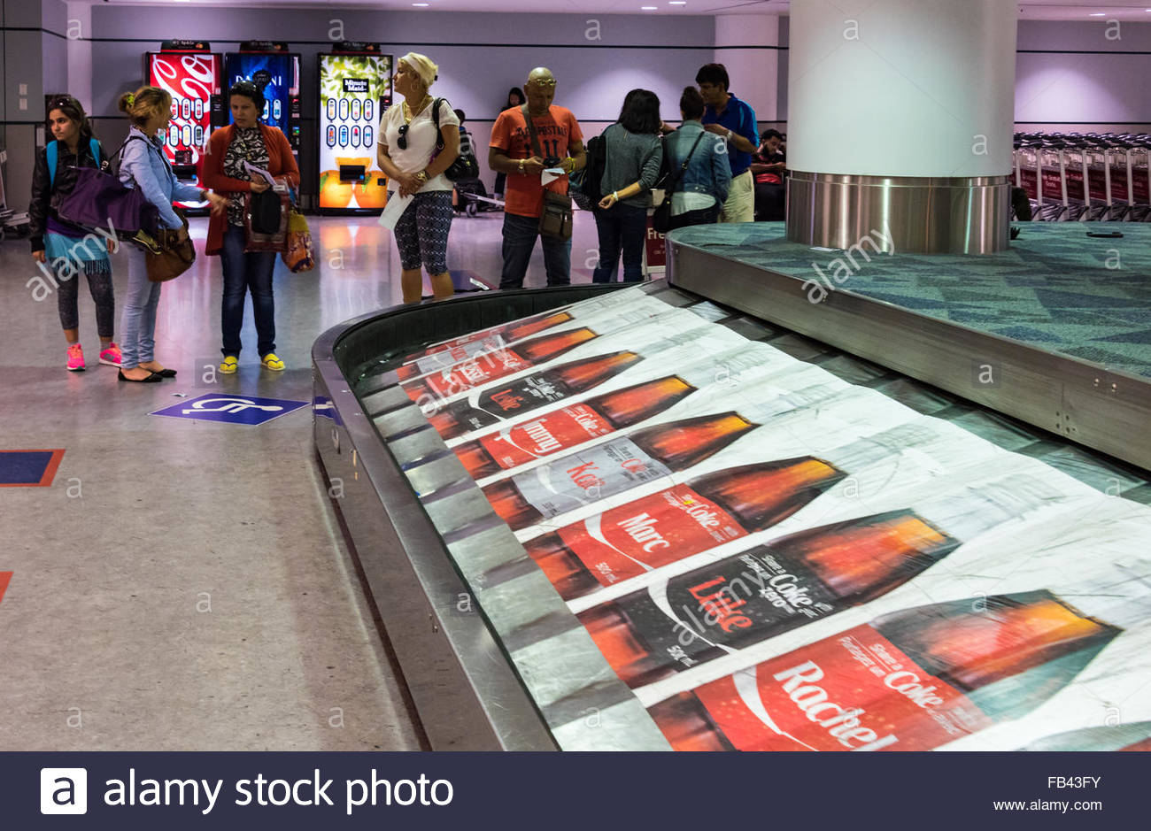 Coca Cola advertisement in a luggage conveyor belt at Pearson International Airport in Toronto, Canada Stock Photo