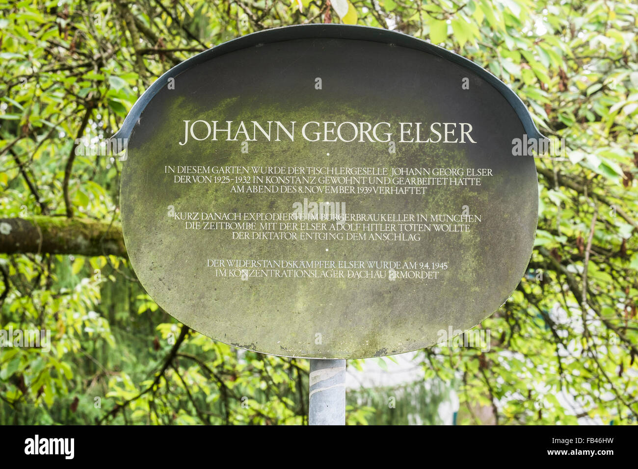 commemorative plaque for johann georg elser, at the place of his  detention, who planned and carried out an assasination Stock Photo