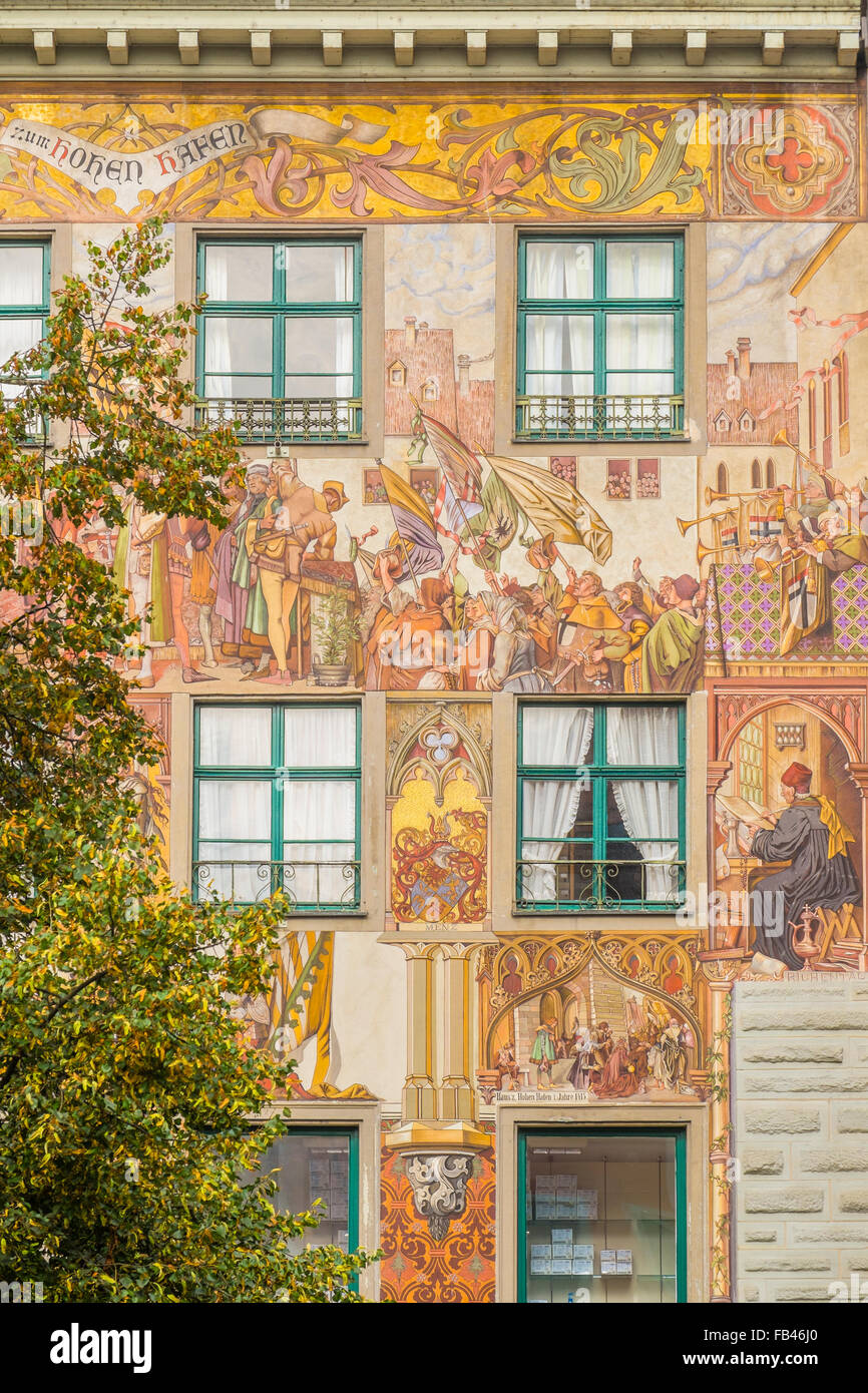 painted facade of haus zum hohen hafen, historic part of konstanz, lake constance, baden-wuerttemberg, germany - Stock Image