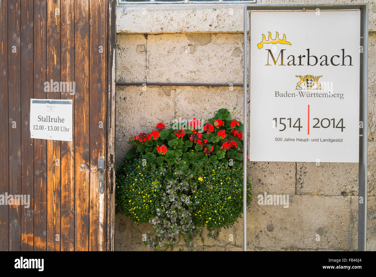 sign commemorating the 500th anniversary of marbach stud, marbach, baden-württemberg, germany - Stock Image