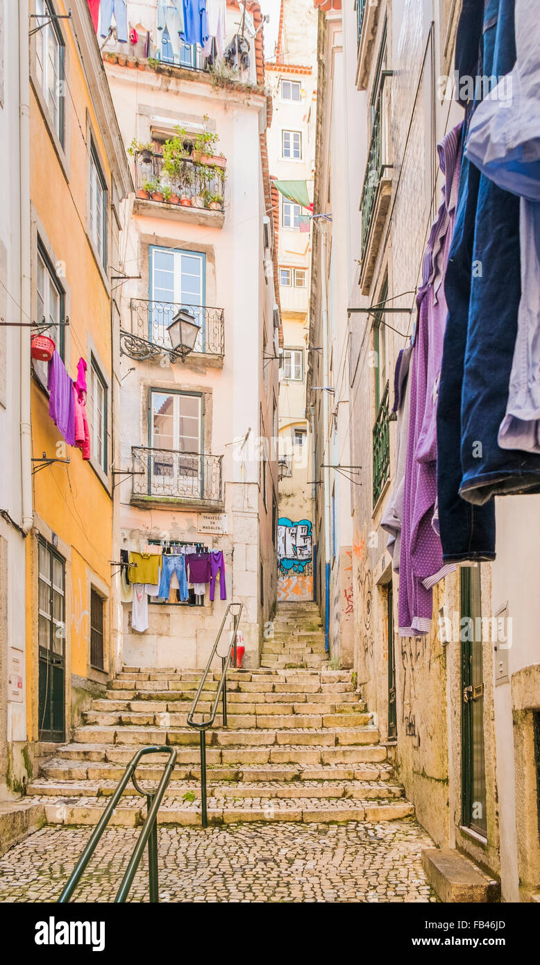 staircase in front of typical houses, alfama district, lisbon, portugal - Stock Image