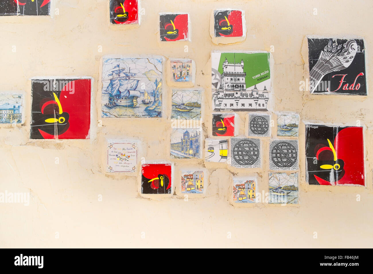 ceramic tiles, so-called  azulejos, showing typical portuguese motives, lisbon, portugal - Stock Image