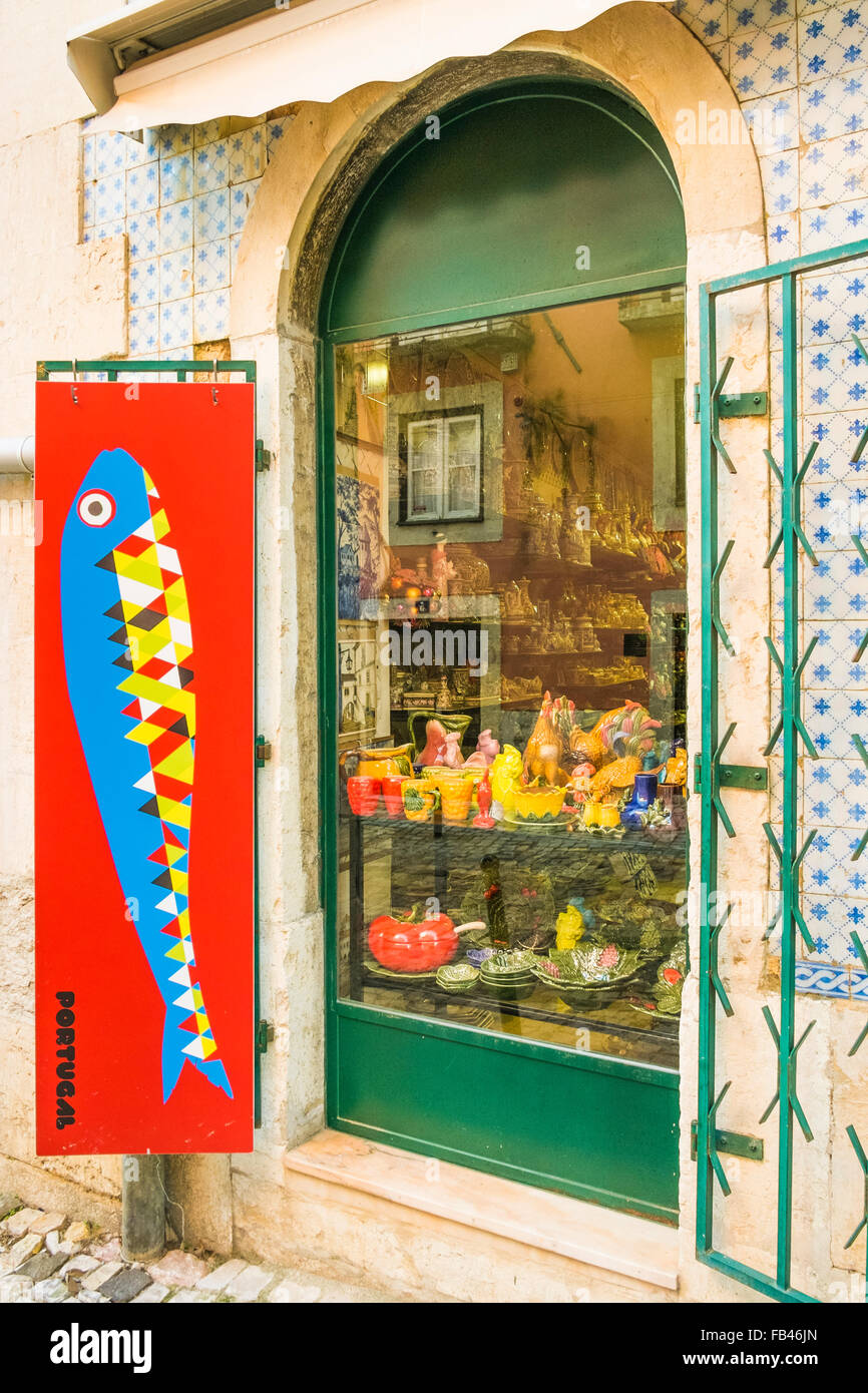 typical arts and crafts objects in a shop window, lisbon, portugal - Stock Image