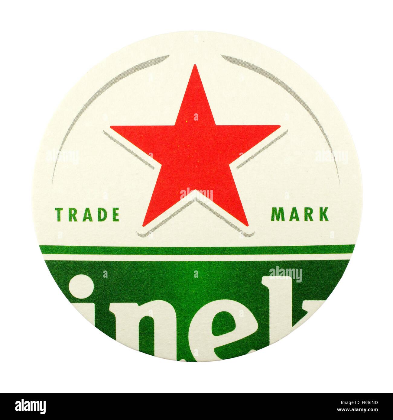 Heineken beer mat. - Stock Image