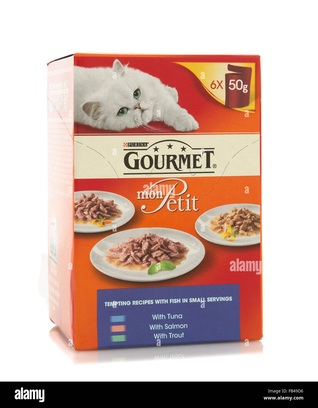 Gourmet Mon Petit cat food. Gourmet is product of Purina Mills of Gray Summit, Missouri - Stock Image