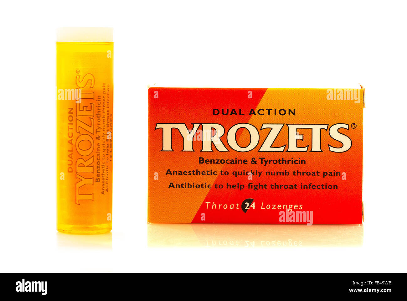 Tyrozets Dual Action anaesthetic lozenges for painful sore throats and mouth infections - Stock Image