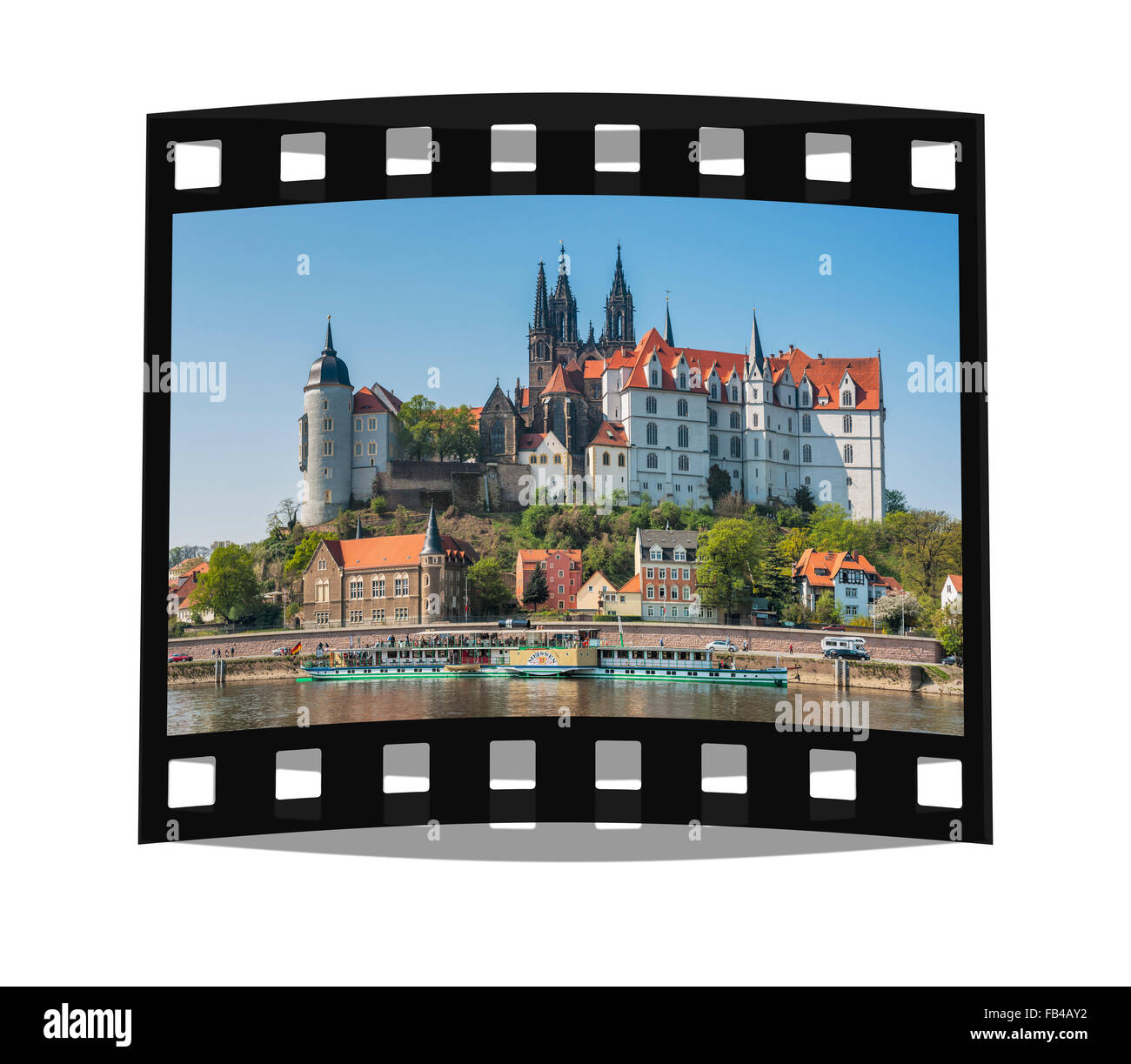 View over the Elbe river to Albrechtsburg Castle, Meissen, Saxony, Germany, Europe - Stock Image