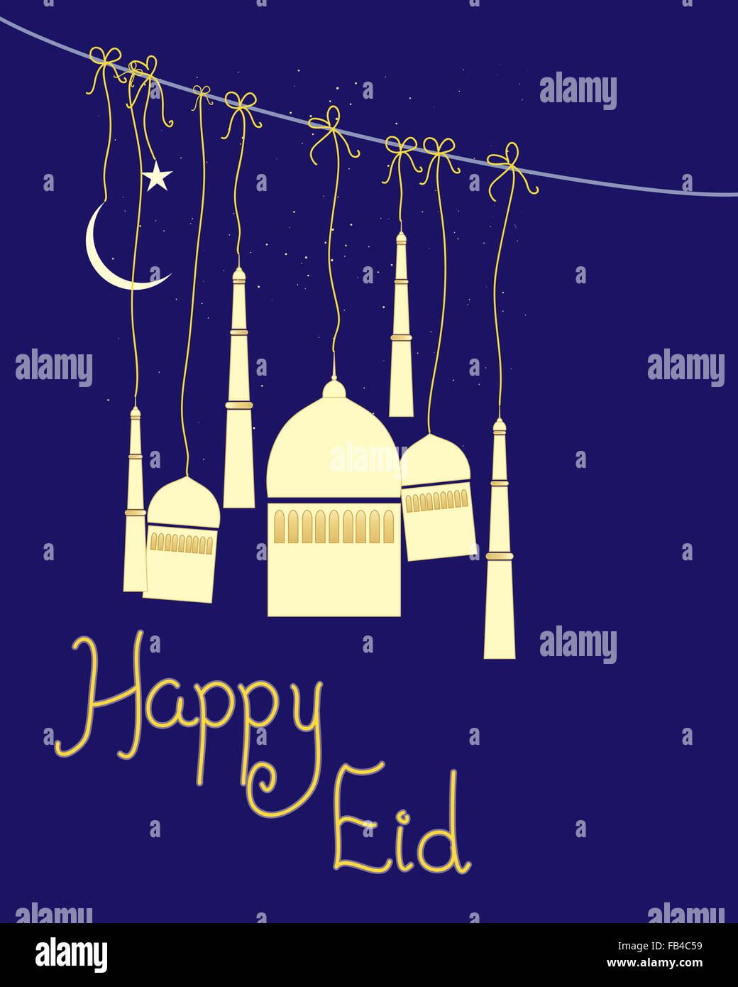 an illustration of an abstract greeting card for the Muslim festival of Eid with stylized mosque and the words happy - Stock Image
