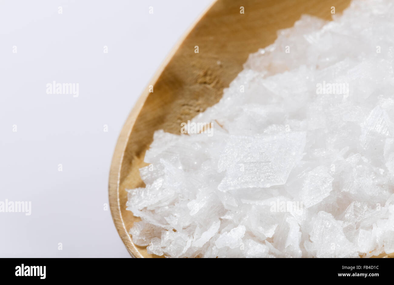 salt flakes with flaky texture of the sea salt crystals used to add in the top chef fine foods to enhance the flavor. - Stock Image